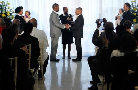 "Two black men in the USA getting ""married"". Nothing could delight President Obama more than seeing these kinds of bizarre ""weddings"" take place across the world, especially in Africa."